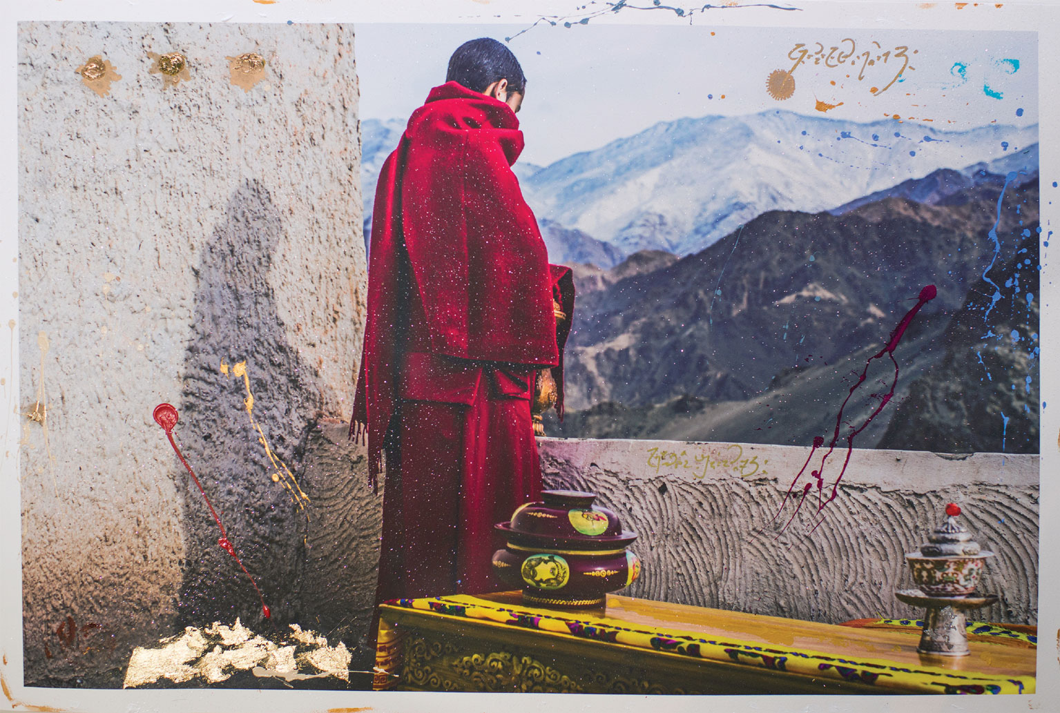 """Losar,"" Painted photography 41"" x 29"""