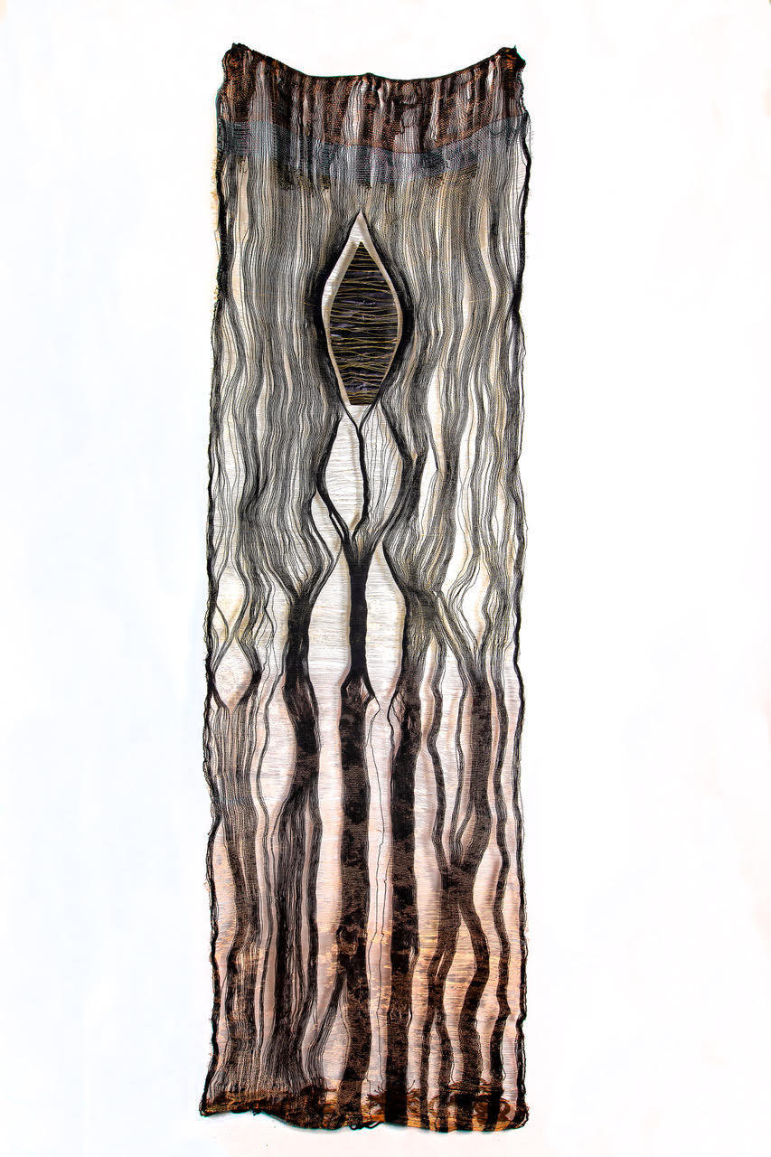 """Dropped Out,"" Loom woven fiber, brass and copper wire 100"" x 34"""