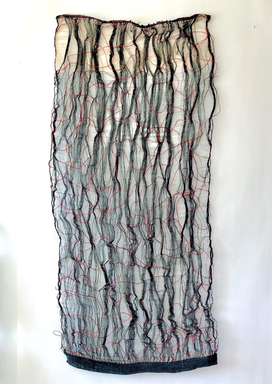 """ENLIGHTENMENT II,"" Loom woven fiber, copper and brass wire 65"" x 30"""
